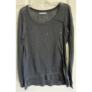 MAURICES Scoop Neck Jeweled Studded L/S Tunic Top